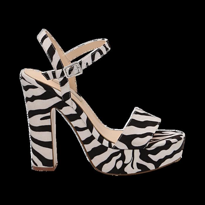 Sandali zebrati in microfibra con plateau, tacco 13 cm, Sandali con tacco, 138404164MFZEBR035