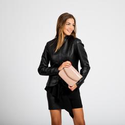 Pochette con tracolla rosa nude in ecopelle vernice, profili mini-borchie, Borse, 123308852VENUDEUNI, 005 preview