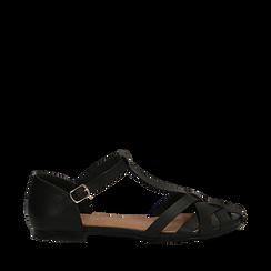 Sandali flat neri in eco-pelle con tomaia traforata, Scarpe, 134990781EPNERO035, 001a