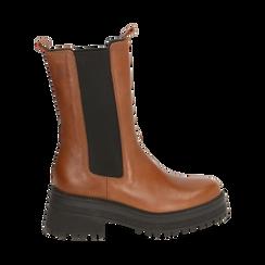 Chelsea boots marroni in pelle di vitello , Primadonna, 168915835VIMARR035, 001a