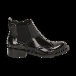 Chelsea boots neri in eco-pelle abrasivata, Stivaletti, 140618206ABNERO036, 001 preview