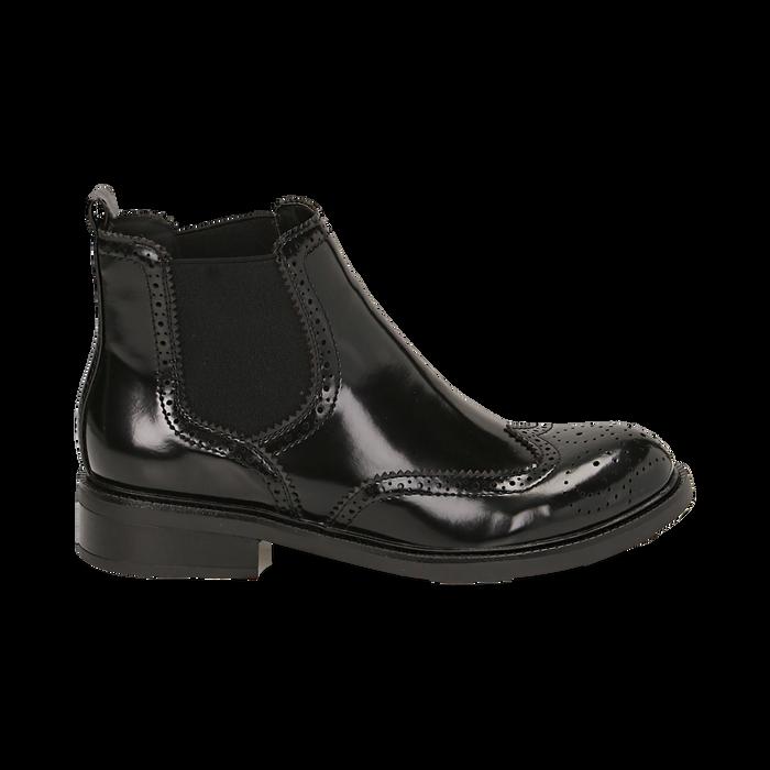Chelsea boots neri in eco-pelle abrasivata, Stivaletti, 140618206ABNERO036