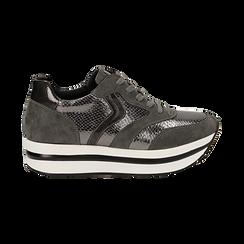 Sneakers platform grigie in eco-pelle, effetto snake skin, zeppa 4 cm , Scarpe, 142892263EVGRIG036, 001 preview
