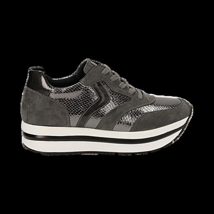 Sneakers platform grigie in eco-pelle, effetto snake skin, zeppa 4 cm , Scarpe, 142892263EVGRIG036