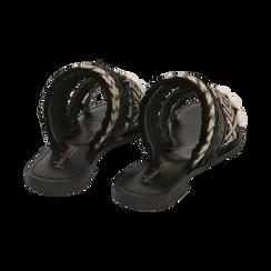 Ciabatte nere in rafia con conchiglie, Scarpe, 15K904448RFNERO, 004 preview