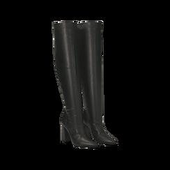 Stivali neri con gambale dritto, tacco quadrato 9,5 cm, 122166717EPNERO035, 002