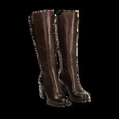 Stivali testa di moro in pelle di vitello, tacco 8 cm , Stivali, 14A200748VIMORO035, 002a