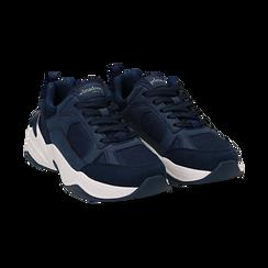 Dad shoes blu in microfibra, zeppa 4,50 cm, Sneakers, 142619462MFBLUE036, 002 preview