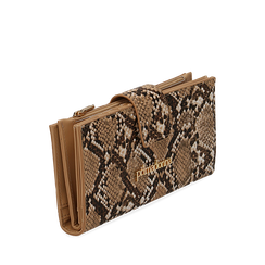 Portafogli beige in eco-pelle snake print, Primadonna, 155122158PTBEIGUNI, 002a