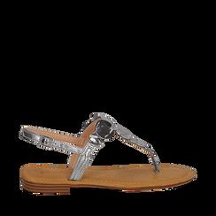 Sandali gioiello argento in laminato, Primadonna, 134985111LMARGE036, 001a