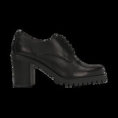 Francesine stringate nere in vera pelle, tacco 8 cm, Primadonna, 127723812PENERO, 001 preview