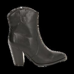 Camperos neri in eco-pelle, tacco 9 cm, Stivaletti, 154930037EPNERO035, 001 preview