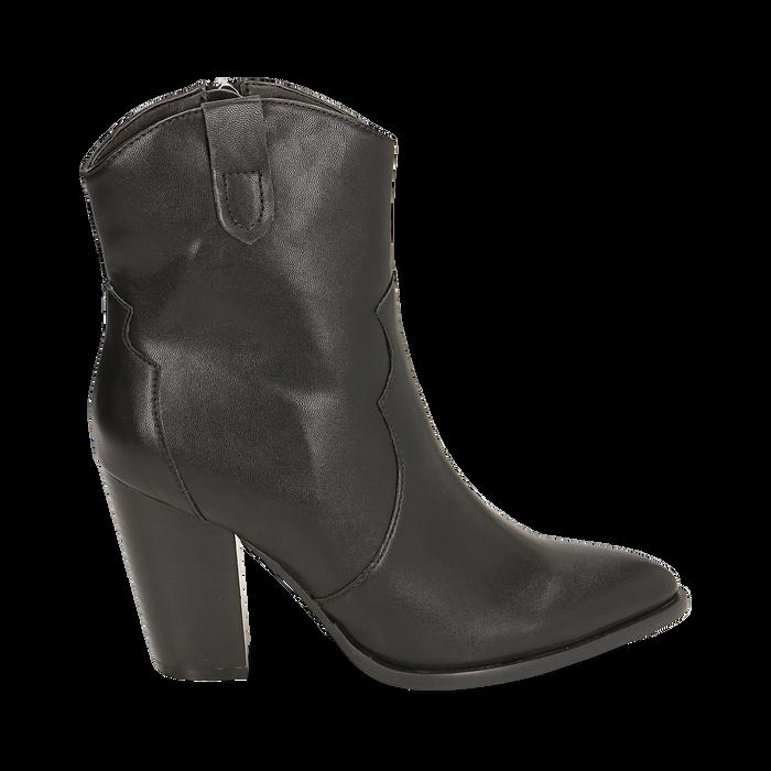 Camperos neri in eco-pelle, tacco 9 cm, Stivaletti, 154930037EPNERO035