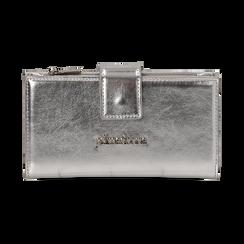 Monedero en eco-piel laminada color plateado, Bolsos, 155122158LMARGEUNI, 001 preview