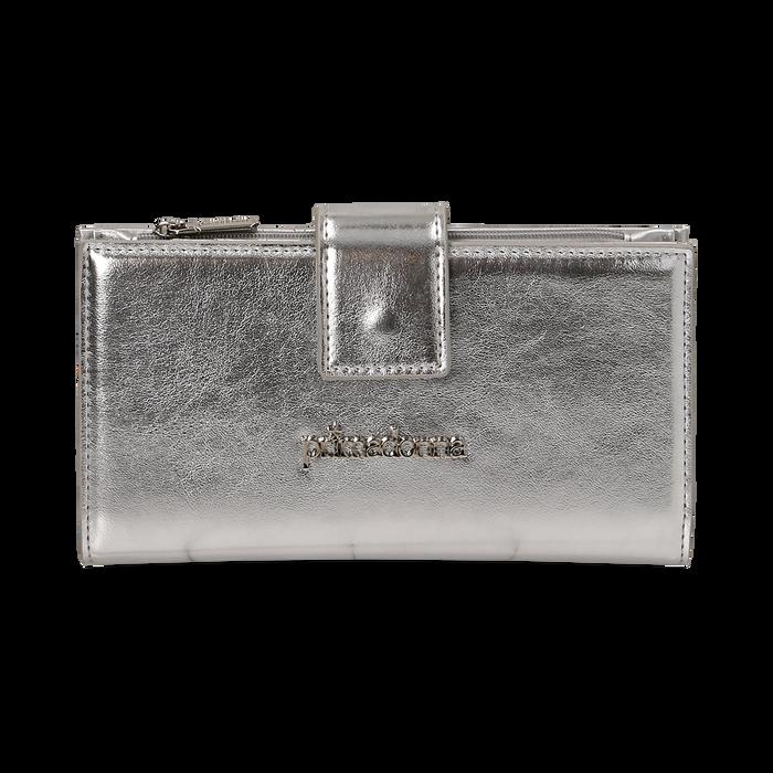 Monedero en eco-piel laminada color plateado, Bolsos, 155122158LMARGEUNI