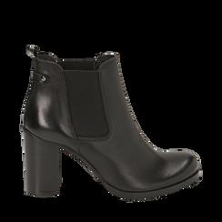 Ankle boots neri in pelle di vitello, tacco 8 cm , Stivaletti, 148900880VINERO036, 001a