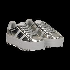 Sneakers argento in laminato con suola platform 4 cm, Scarpe, 130101010LMARGE036, 002 preview