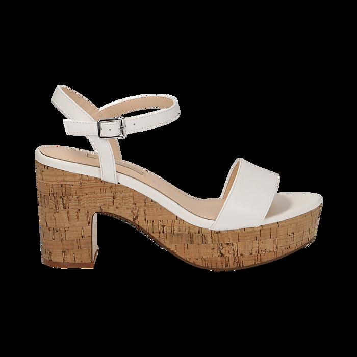Sandali bianchi in eco-pelle, tacco in sughero 9 cm, Saldi Estivi, 138402256EPBIAN038