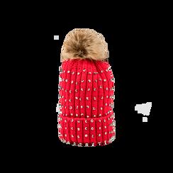Berretto rosso in lana con strass e pon-pon, Abbigliamento, 12B409806TSROSS, 001 preview