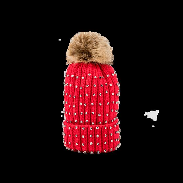 Berretto rosso in lana con strass e pon-pon, Abbigliamento, 12B409806TSROSS
