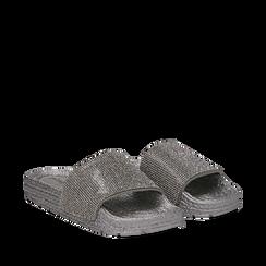 Ciabattine argento in pvc con strass, Primadonna, 134700002PVARGE035, 002a