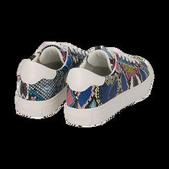Sneakers nero/blu stampa pitone, Scarpe, 152607101PTNEBL, 004 preview