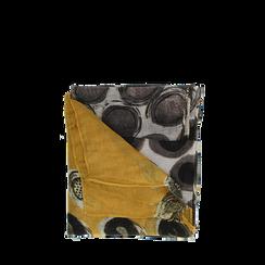 Pashmina gialla in tessuto con stampa pois , Abbigliamento, 14B491013TSGIAL3XL, 001a