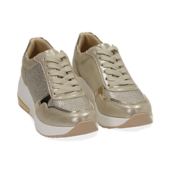 Sneakers en laminado con cuña color dorado , Zapatos, 152802472LMOROG037, 002 preview