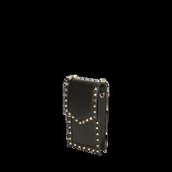 Porta telefono borchiato nero , Borse, 165123162EPNEROUNI, 002a