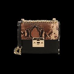Borsa piccola marrone stampa pitone, Primadonna, 165122371PTMARRUNI, 001 preview