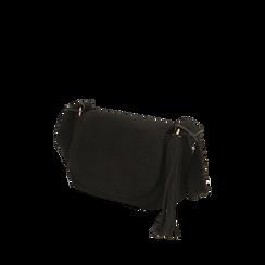 Borsa a tracolla nera in microfibra , IDEE REGALO, 165123105MFNEROUNI, 002a
