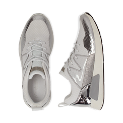 Sneakers bianche in tessuto tecnico dettagli glitter, Scarpe, 132619190TSBIAN036, 003 preview