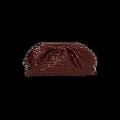 Maxi clutch bordeaux intrecciata, GIFT IDEAS, 165122668EIBORDUNI, 003 preview
