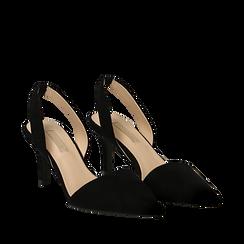 Slingback nere in microfibra, tacco a rocchetto 7,5 cm , Scarpe, 132133671MFNERO035, 002a
