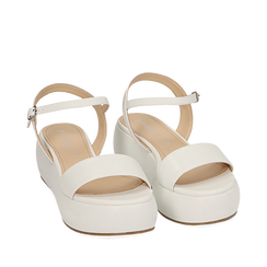 Sandali bianchi in eco-pelle, zeppa 5 cm , Chaussures, 159790131EPBIAN037, 002a