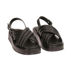 Sandalias negras, cuña 4 cm, Primadonna, 17A121336EPNERO035, 002 preview