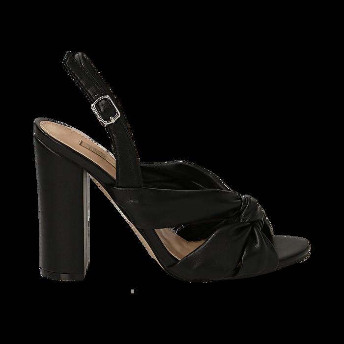 Sandali neri in eco-pelle con nodo, tacco 10 cm, Sandali con tacco, 132760842EPNERO