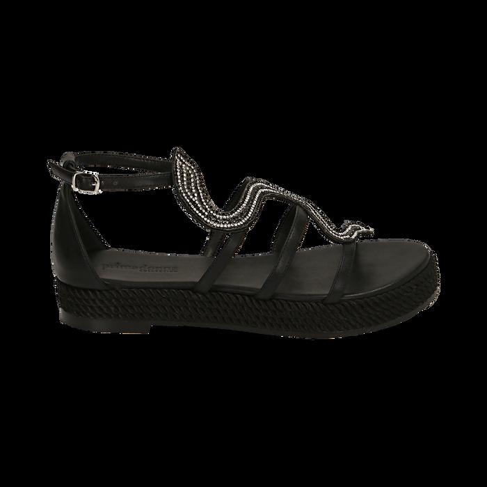 Sandali neri in laminato, Primadonna, 154965221EPNERO036