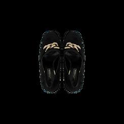 Mocassini décolleté neri scamosciati con frange, tacco 9 cm, Scarpe, 122186591MFNERO, 004 preview