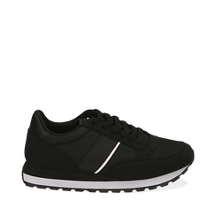 Sneakers noires en tissu technique, Primadonna, 162619079TSNERO035, 001a