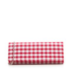 Clutch bianco/rossa in tessuto stampa Vichy, Borse, 133308825TSBIROUNI, 001a