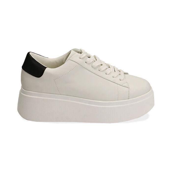 Sneakers bianche, platform 6,5 cm, Primadonna, 177505101EPBIAN037
