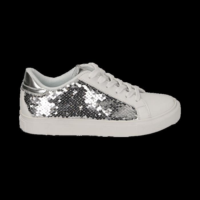 Sneakers con paillettes argento , Scarpe, 152602021PLARGE036