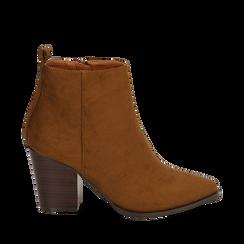 Ankle boots cuoio in microfibra, tacco 8,50 cm, Primadonna, 160585965MFCUOI040, 001a