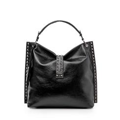 Maxi bag nera in laminato , Borse, 142409318LMNEROUNI, 001a