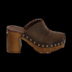 Clogs testa di moro in nabuk , Zapatos, 154304861NBMORO037, 001 preview