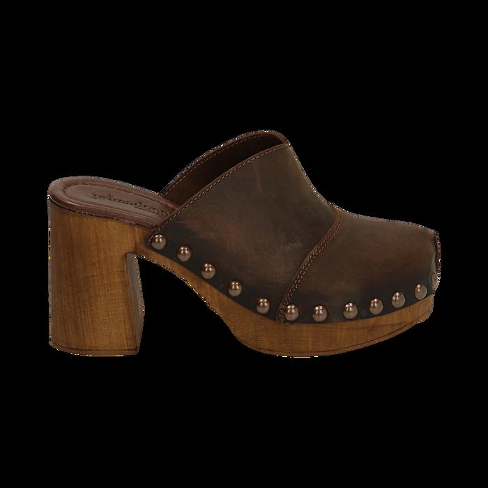 Clogs testa di moro in nabuk , Zapatos, 154304861NBMORO037