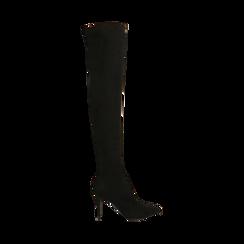 Stivali oveknee neri in microfibra, tacco 9 cm, Primadonna, 162183365MFNERO036, 001 preview