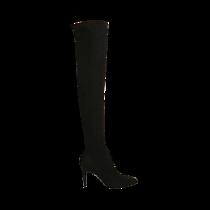 Stivali oveknee neri in microfibra, tacco 9 cm, Primadonna, 162183365MFNERO036