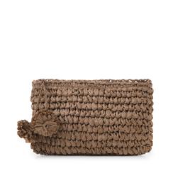 Pochette mare marrone in paglia intrecciata, Saldi Estivi, 134504239PGMARRUNI, 001a